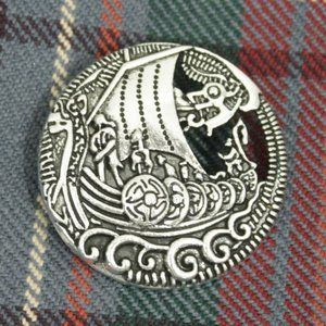 New Viking Celtic Dragon Ship Shield Pin Brooch